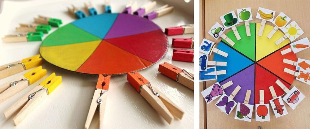 Actividad niño en casa con colores y pinzas
