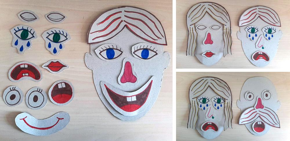 Entretener a un niño con recortables de caras