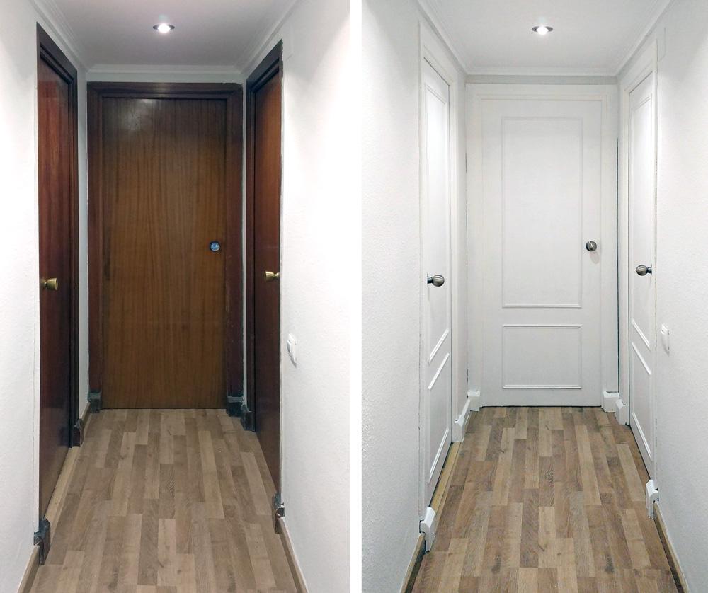 Renovar las puertas de casa con pintura blanca