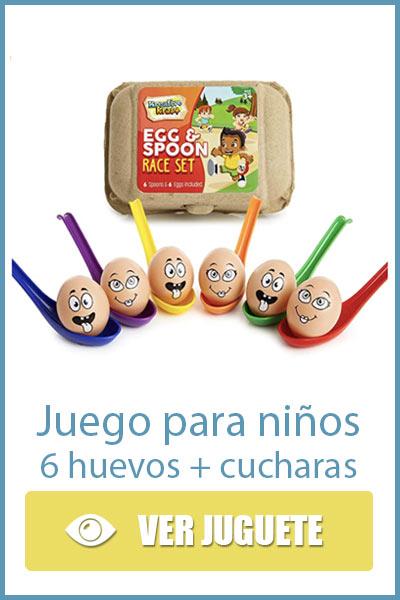 Juego para niños con huevos y cucharas