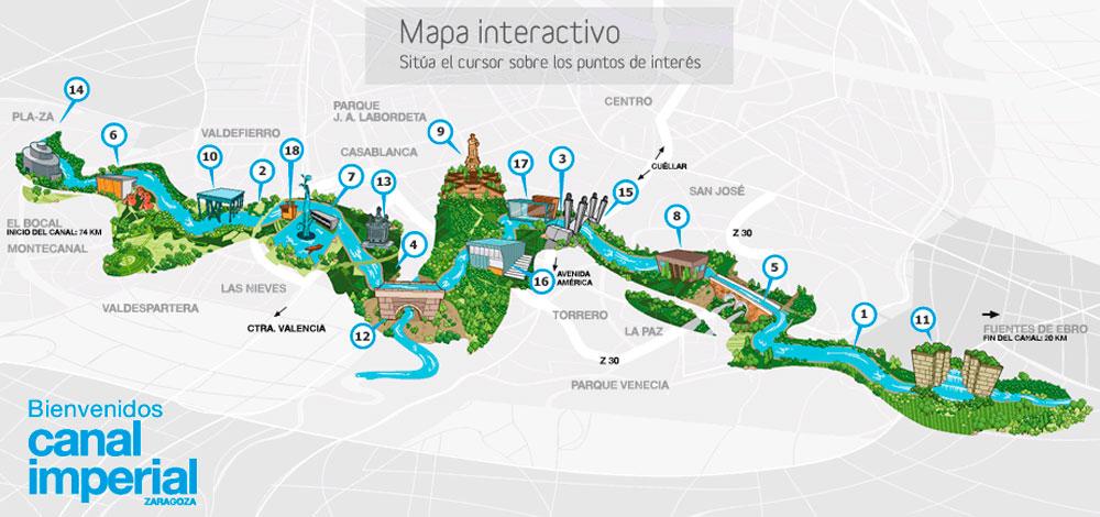 Mapa del Canal Imperial de Zaragoza