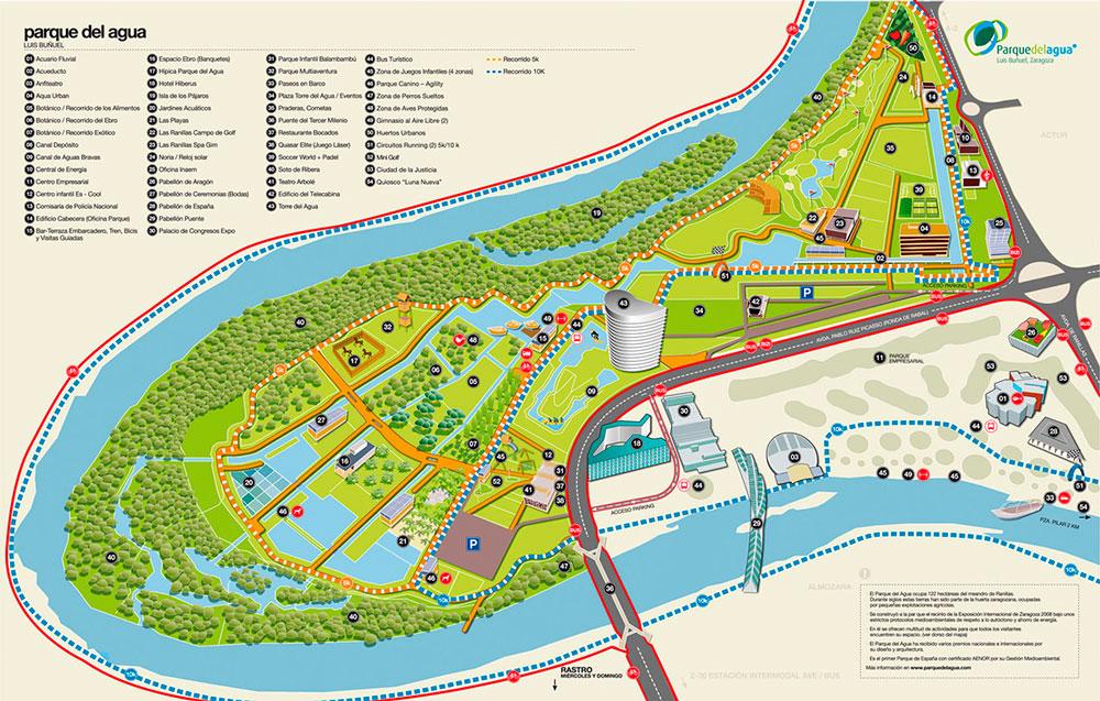 Mapa Parque del Agua Zaragoza