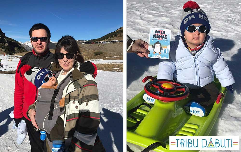 Consejos para ir a la nieve con un bebé: trineo y manduca